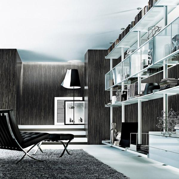 Zenit, libreria in alluminio e vetro