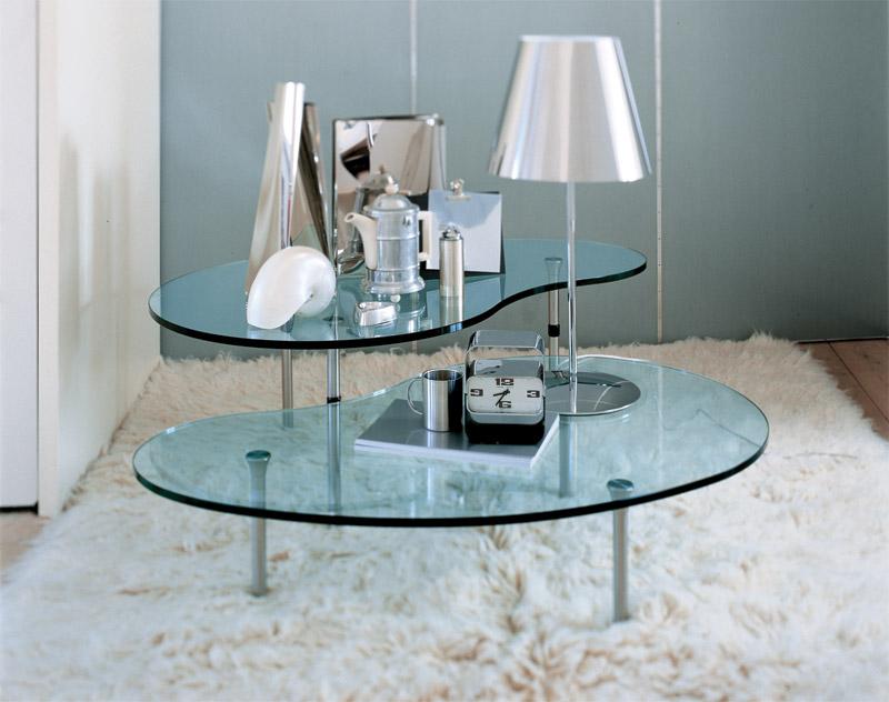 Tavolini bassi moderni con ripiano in cristallo, Ambo di Zanotta