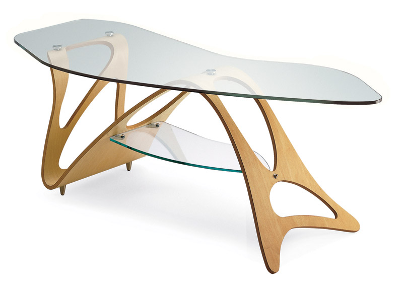 Tavolini bassi moderni con ripiano in cristallo, Arabesco di Zanotta