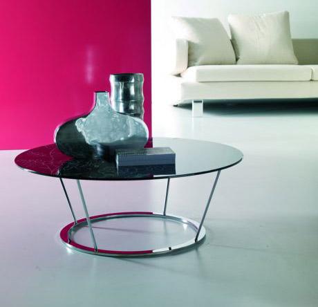 Tavolini bassi moderni con ripiano in cristallo, Disco di Ingenia