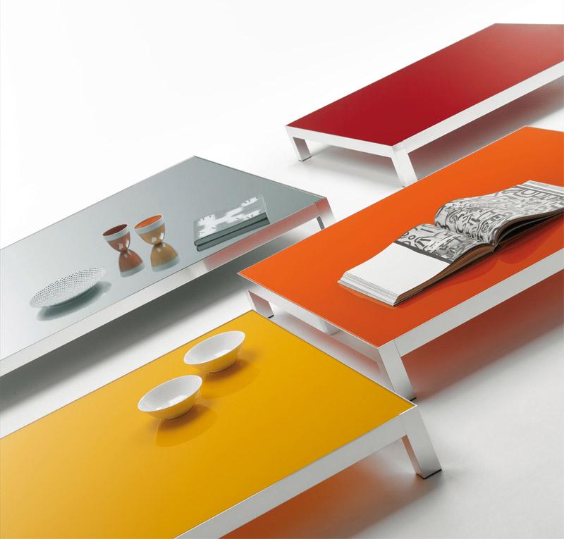 Tavolini bassi moderni con ripiano in cristallo, Lim04 di Mdf Italia