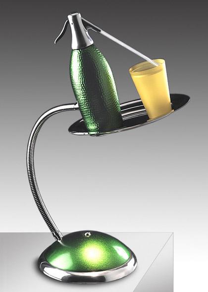Lampada Seltz di Maurizio Lamponi, bicchiere e seltz
