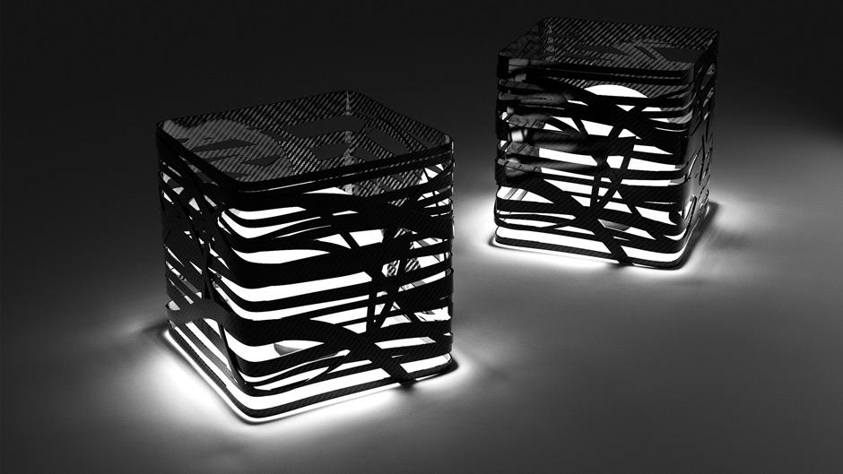 Qube Lamp, Lampada in fibra di Carbonio