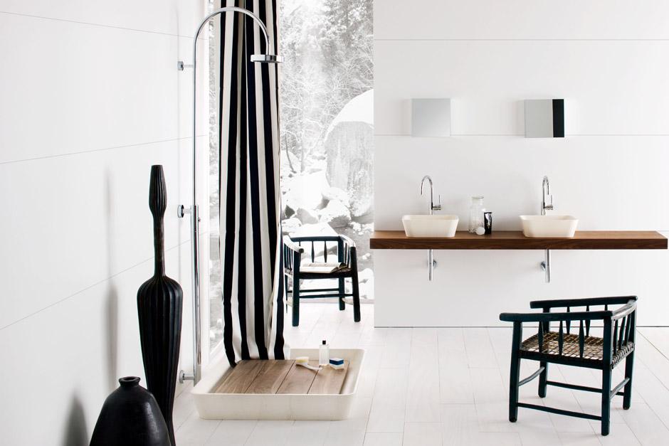 Piatto Doccia in marmo e legno di Noce, Collezione Duo by Neutra