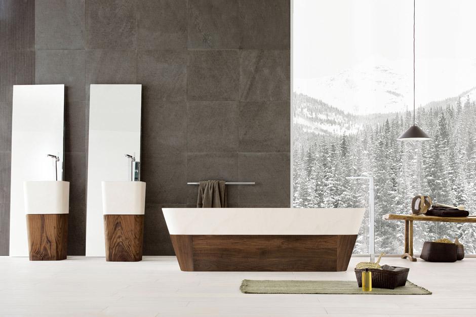 Vasca lavabo e doccia in pietra la collezione duo di - Vasca da bagno in pietra ...