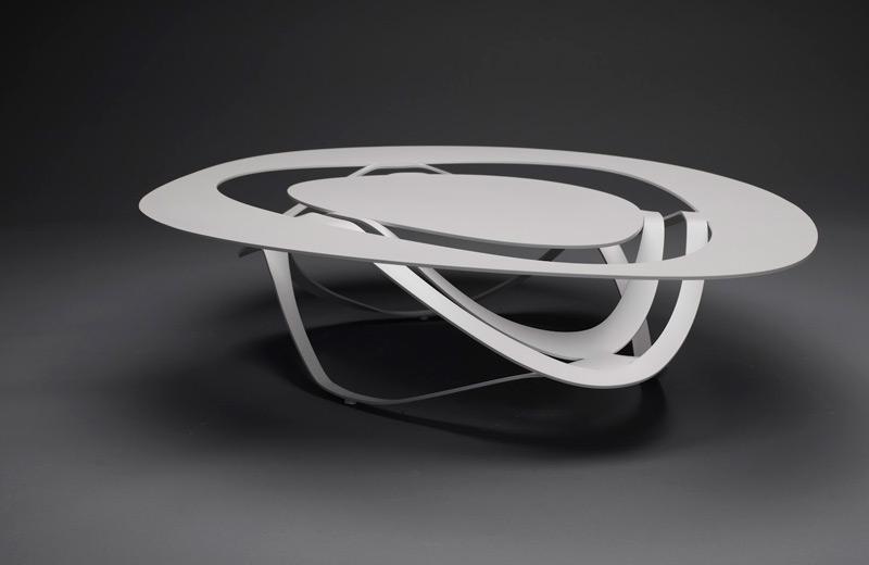 Tavolo Infinity Curl in acciaio, Modello Island