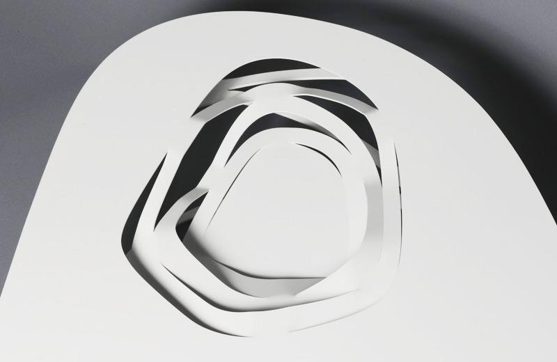 Tavolo Infinity Curl in acciaio, Modello Nest