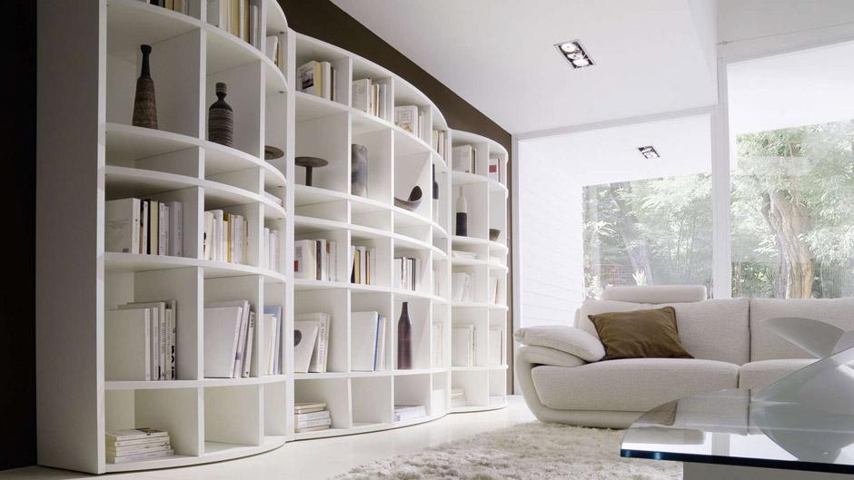 Romeo , libreria living dalle linee tondeggianti disponibile in ...