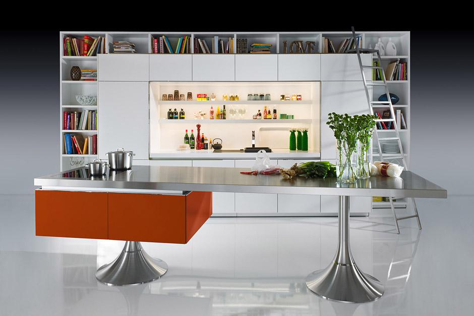 Cucina Moderna Library, cucina minimal con libreria